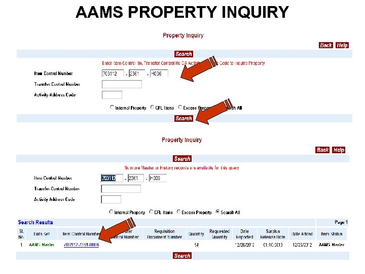 AAMS PROPERTY INQUIRY