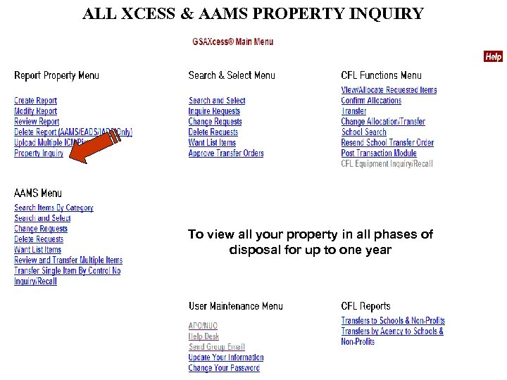 ALL XCESS & AAMS PROPERTY INQUIRY To view all your property in all phases