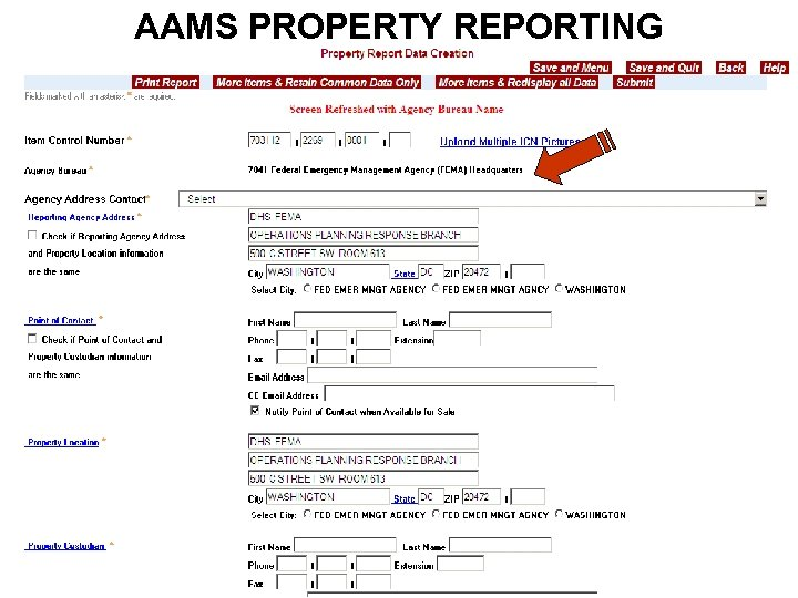 AAMS PROPERTY REPORTING