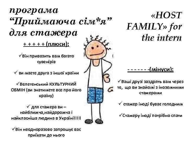 "програма ""Приймаюча сім*я"" для стажера + + + (плюси): «HOST FAMILY» for the intern"