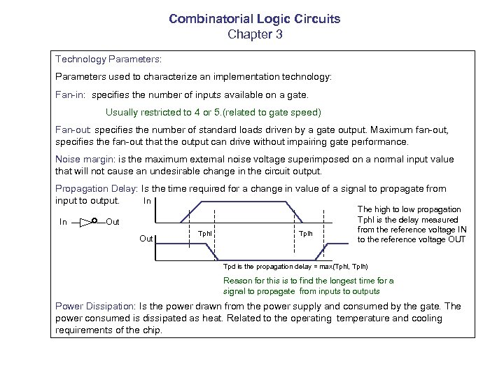 Combinatorial Logic Circuits Chapter 3 Technology Parameters: Parameters used to characterize an implementation technology: