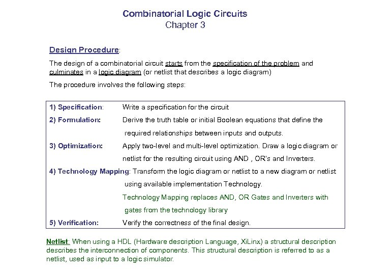 Combinatorial Logic Circuits Chapter 3 Design Procedure: The design of a combinatorial circuit starts
