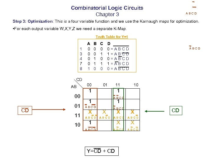 Combinatorial Logic Circuits Chapter 3 ABCD Step 3: Optimization: This is a four variable