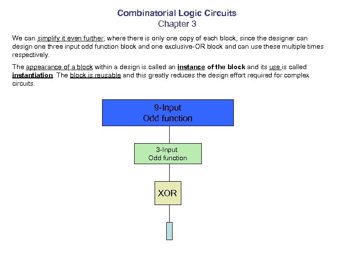 Combinatorial Logic Circuits Chapter 3 We can simplify it even further, where there is