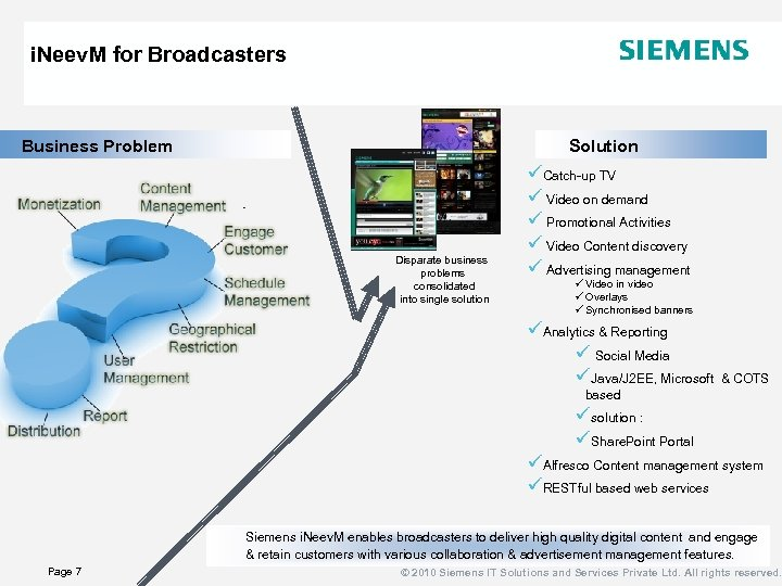 i. Neev. M for Broadcasters Business Problem Solution Disparate business problems consolidated into single