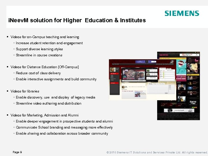i. Neev. M solution for Higher Education & Institutes § Videos for on-Campus teaching
