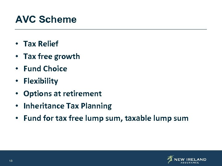 AVC Scheme • • 13 Tax Relief Tax free growth Fund Choice Flexibility Options