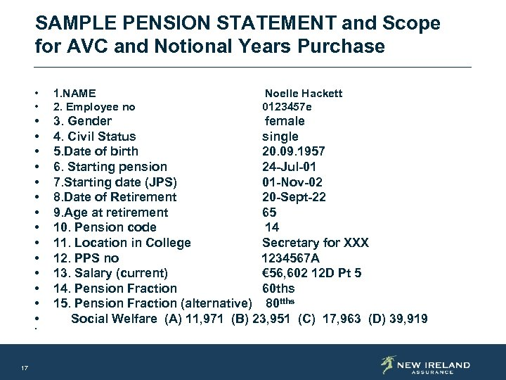 SAMPLE PENSION STATEMENT and Scope for AVC and Notional Years Purchase • • 1.