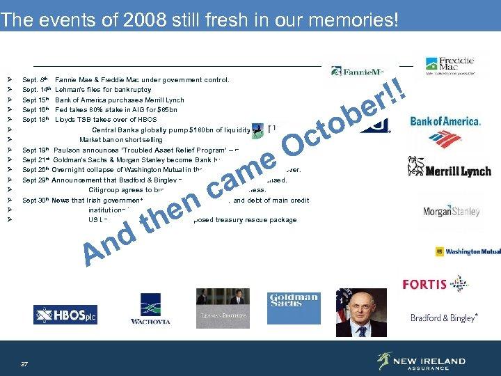 The events of 2008 still fresh in our memories! Ø Ø Ø Ø Sept.