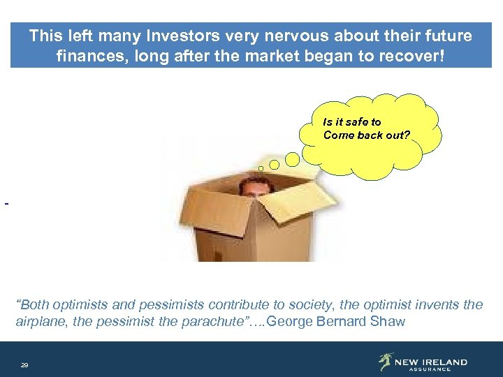 This left many Investors very nervous about their future finances, long after the market