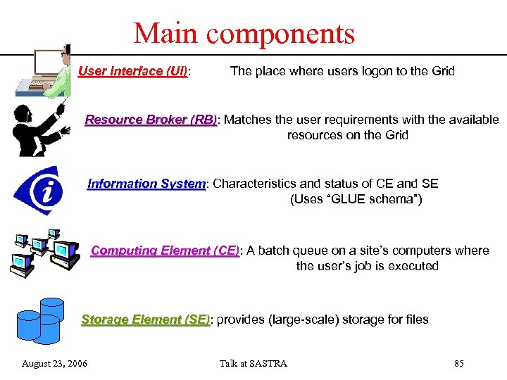 Main components User Interface (UI): (UI) The place where users logon to the Grid