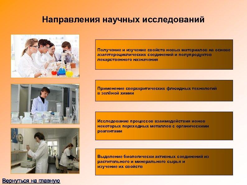 Направления научных исследований Получение и изучение свойств новых материалов на основе азагетероциклических соединений и