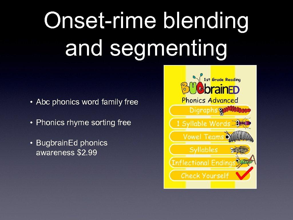 Onset-rime blending and segmenting • Abc phonics word family free • Phonics rhyme sorting