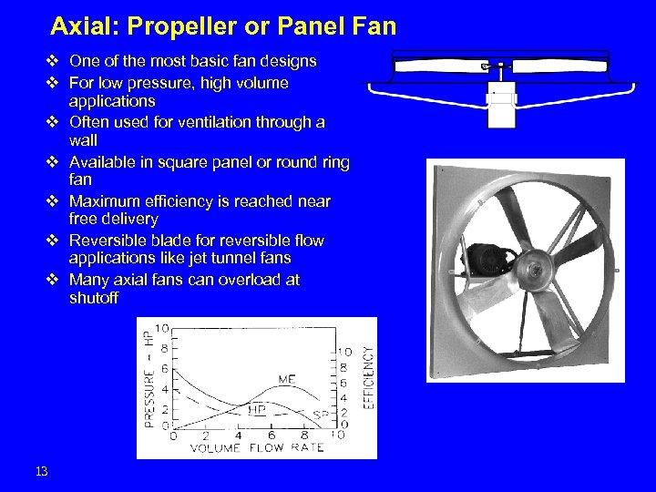 Axial: Propeller or Panel Fan v One of the most basic fan designs v