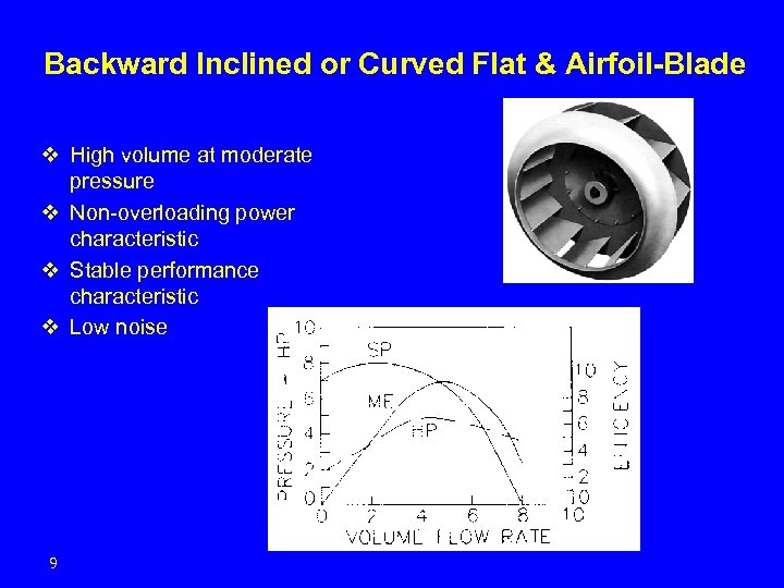 Backward Inclined or Curved Flat & Airfoil-Blade v High volume at moderate pressure v