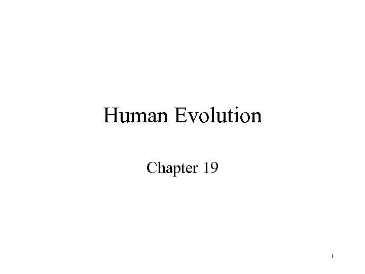 Human Evolution Chapter 19 1