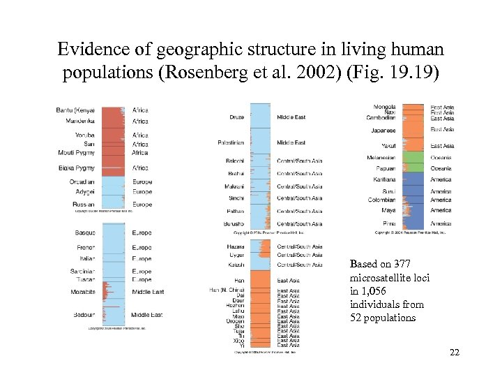 Evidence of geographic structure in living human populations (Rosenberg et al. 2002) (Fig. 19)