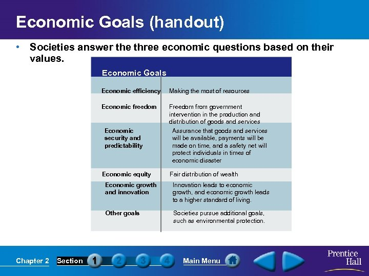 Economic Goals (handout) • Societies answer the three economic questions based on their values.