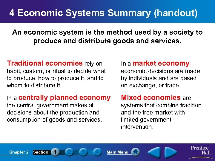 4 Economic Systems Summary (handout) An economic system is the method used by a