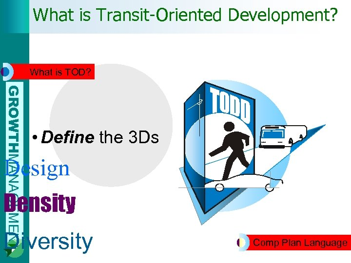 What is Transit-Oriented Development? What is TOD? GROWTHMANAGEMENT • Define the 3 Ds Design