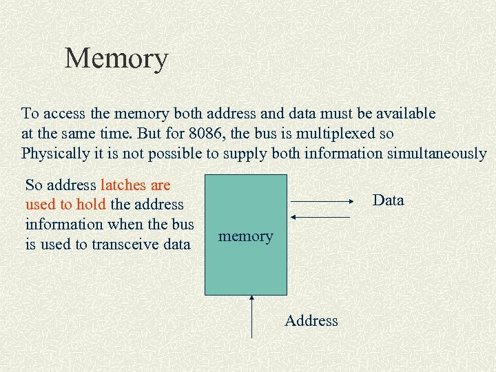 Memory To access the memory both address and data must be available at the