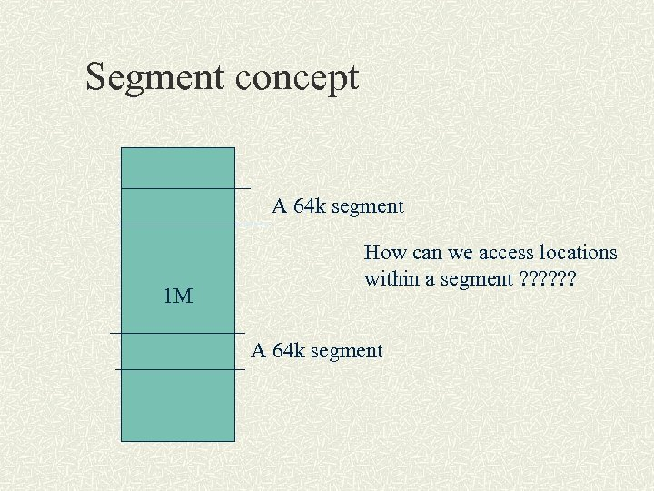 Segment concept A 64 k segment 1 M How can we access locations within