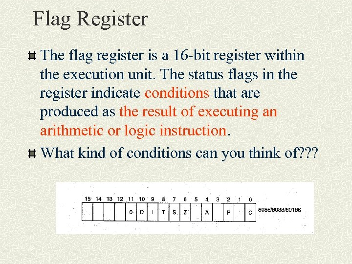 Flag Register The flag register is a 16 -bit register within the execution unit.