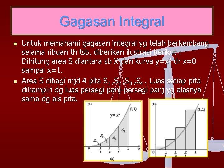Gagasan Integral n n Untuk memahami gagasan integral yg telah berkembang selama ribuan th