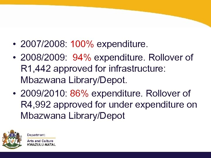 • 2007/2008: 100% expenditure. • 2008/2009: 94% expenditure. Rollover of R 1, 442
