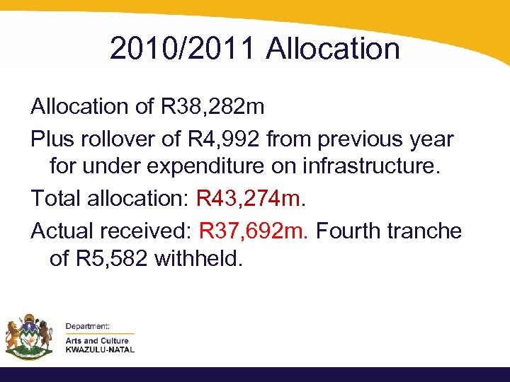2010/2011 Allocation of R 38, 282 m Plus rollover of R 4, 992 from