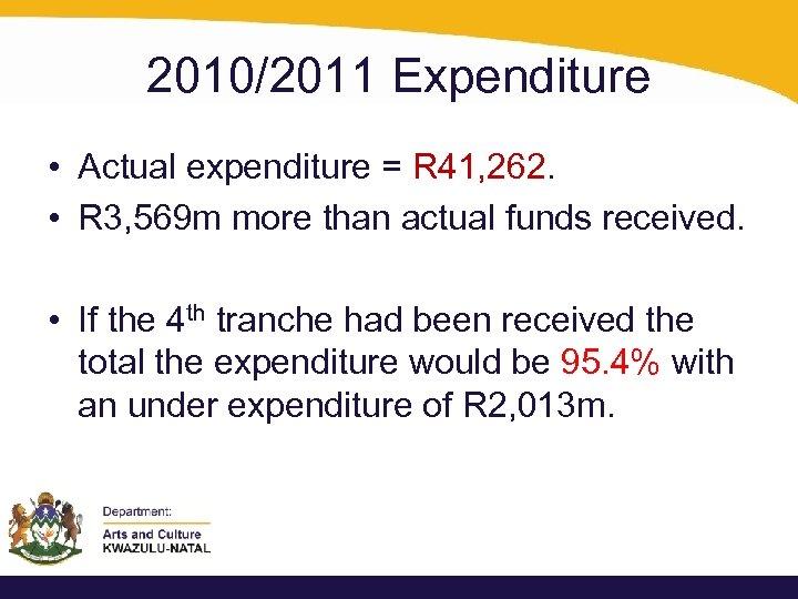 2010/2011 Expenditure • Actual expenditure = R 41, 262. • R 3, 569 m
