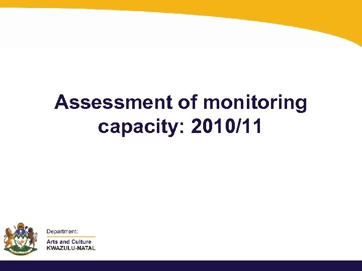 Assessment of monitoring capacity: 2010/11