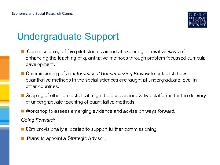 Undergraduate Support n Commissioning of five pilot studies aimed at exploring innovative ways of
