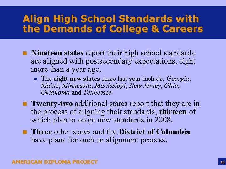Align High School Standards with the Demands of College & Careers n Nineteen states