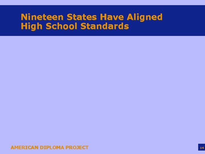 Nineteen States Have Aligned High School Standards AMERICAN DIPLOMA PROJECT 14
