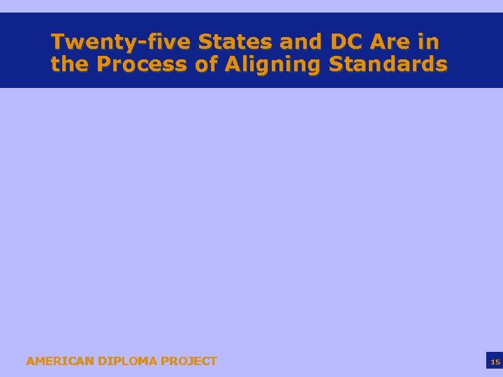 Twenty-five States and DC Are in the Process of Aligning Standards AMERICAN DIPLOMA PROJECT