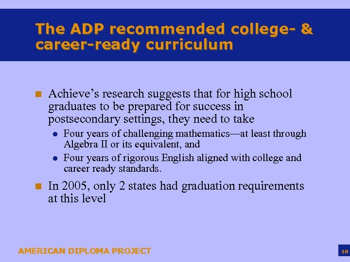 The ADP recommended college- & career-ready curriculum n Achieve's research suggests that for high
