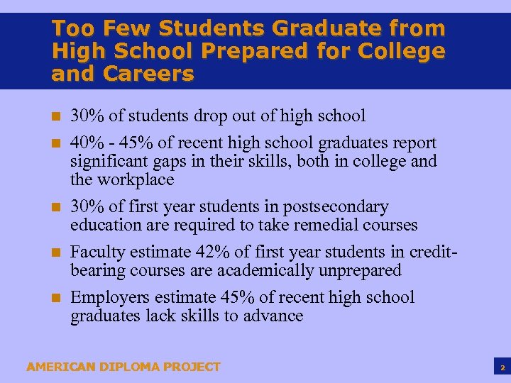 Too Few Students Graduate from High School Prepared for College and Careers n n