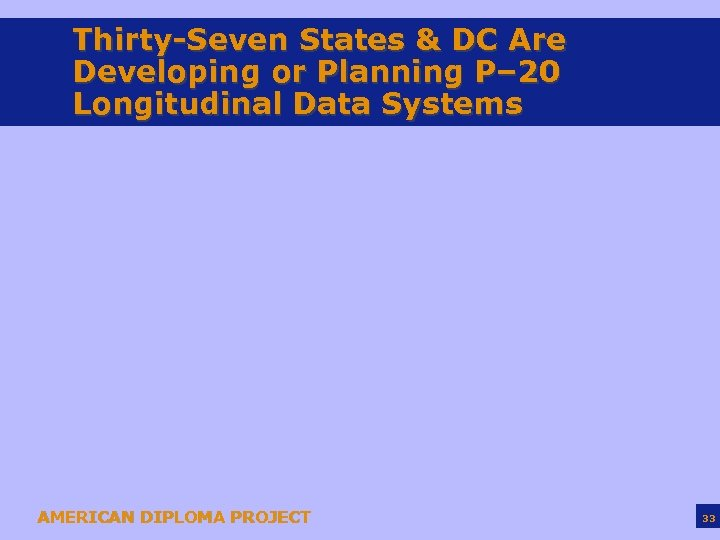 Thirty-Seven States & DC Are Developing or Planning P– 20 Longitudinal Data Systems AMERICAN