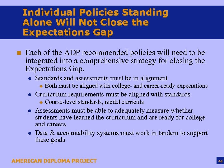 Individual Policies Standing Alone Will Not Close the Expectations Gap n Each of the