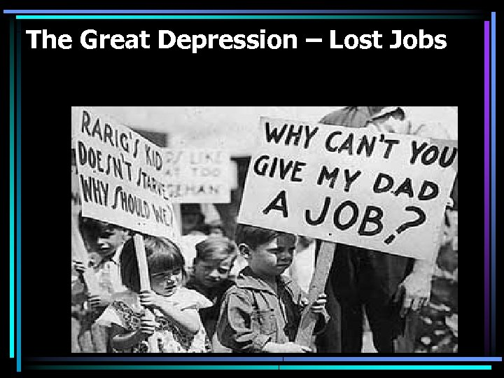 The Great Depression – Lost Jobs