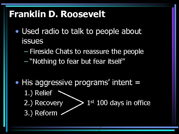 Franklin D. Roosevelt • Used radio to talk to people about issues – Fireside