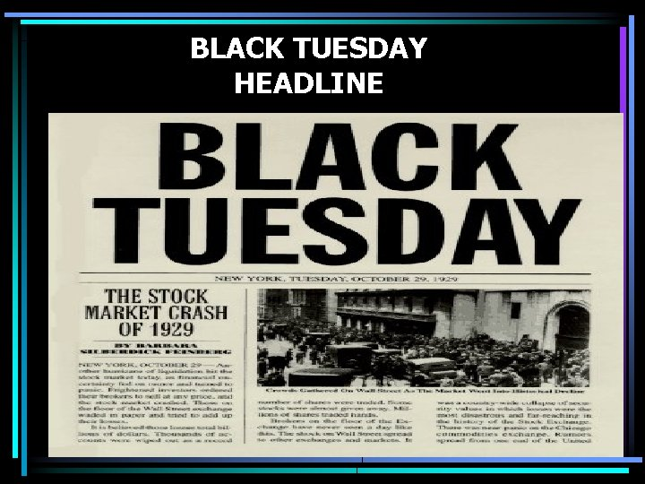 BLACK TUESDAY HEADLINE