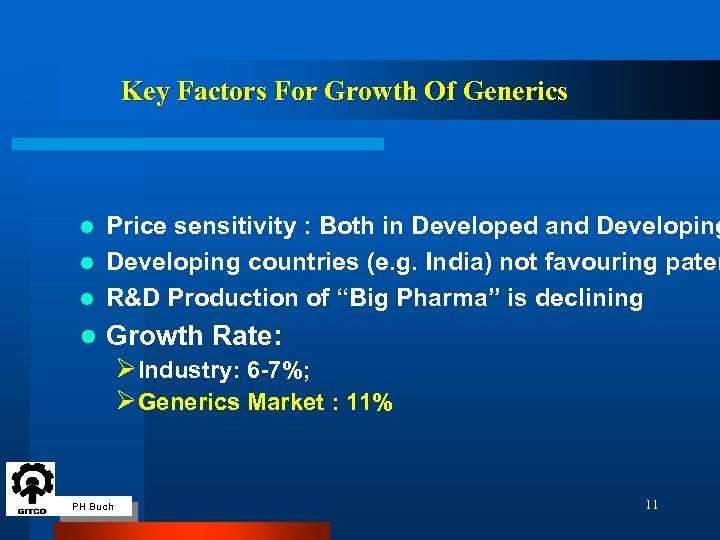 Key Factors For Growth Of Generics Price sensitivity : Both in Developed and Developing
