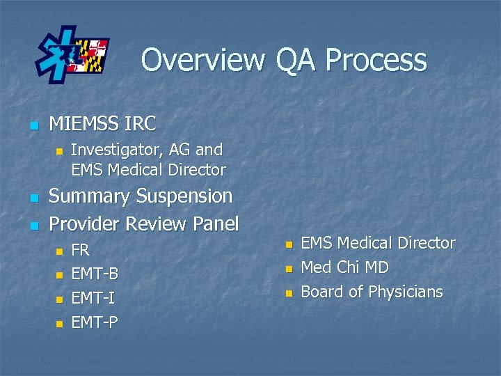 Overview QA Process n MIEMSS IRC n n n Investigator, AG and EMS Medical