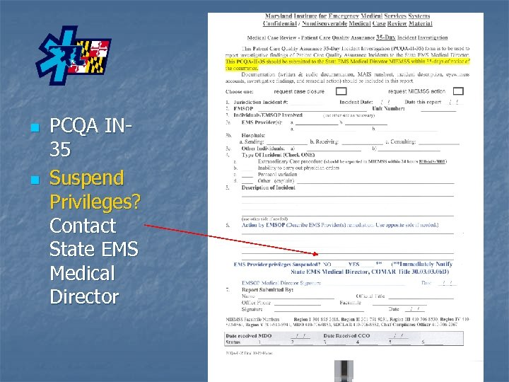 n n PCQA IN 35 Suspend Privileges? Contact State EMS Medical Director