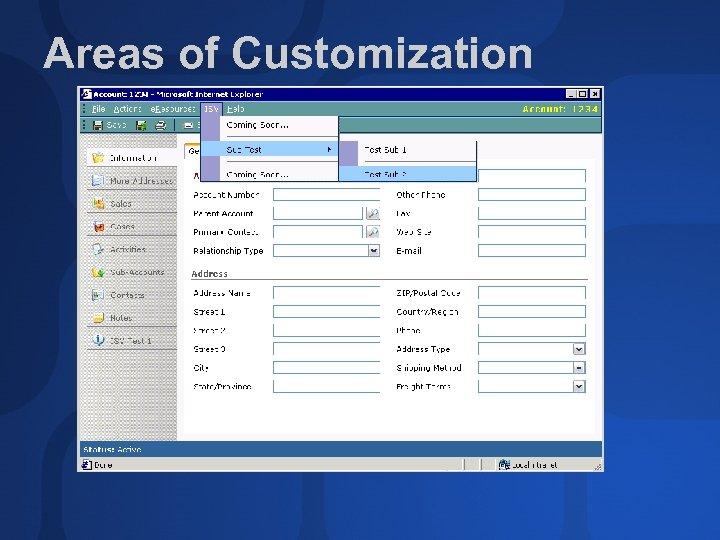 Areas of Customization