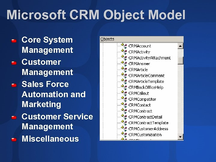 Microsoft CRM Object Model Core System Management Customer Management Sales Force Automation and Marketing