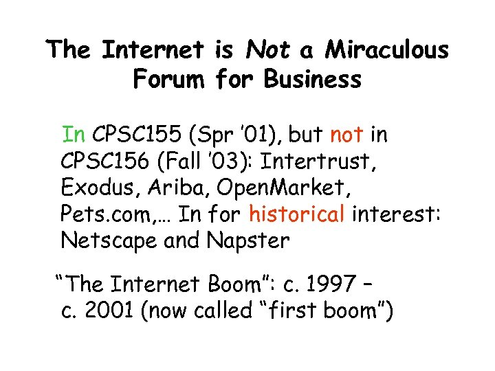 The Internet is Not a Miraculous Forum for Business In CPSC 155 (Spr '