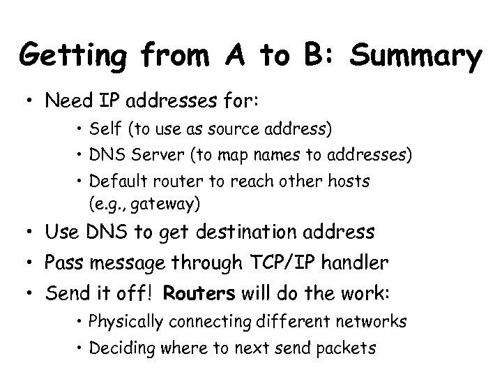 Getting from A to B: Summary • Need IP addresses for: • Self (to